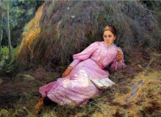Полотно Н. Ярошенко «Девушка у стога» — яркое, написанное легко, на одном дыхании, возвышенно-романтическое по настроению. Это эскиз картины «Летом»