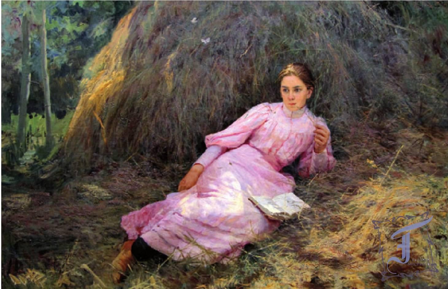 Полотно Н. Ярошенко «Девушка у стога» Эскиз картины «Летом»