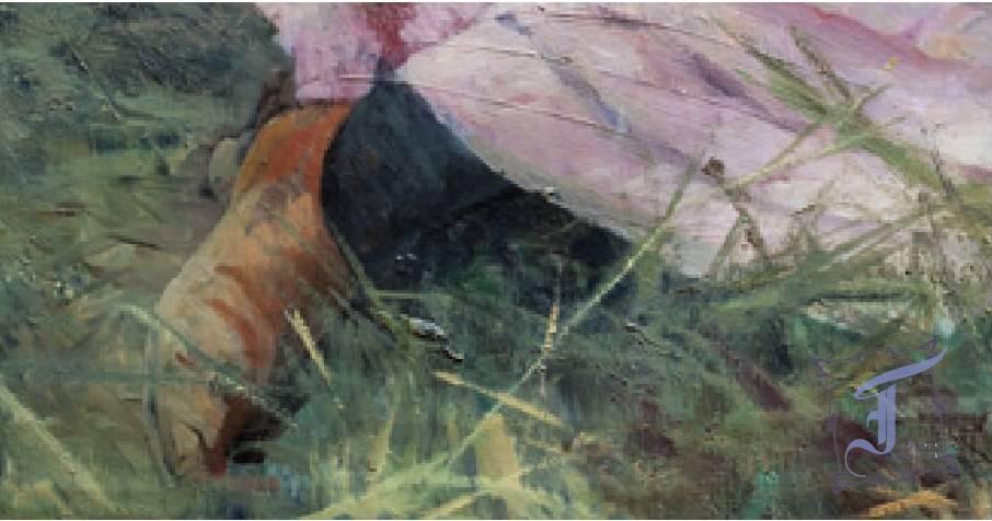 Полотно Н. Ярошенко «Девушка у стога» — яркое, написанное легко, на одном дыхании, возвышенно-романтическое по настроению.