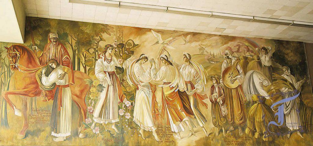 """Фреска по сирому тиньку. """"Маруся Чурай"""". 48 кв. м. Фойє 2-го поверху будівлі автовокзалу у Полтаві. 1986."""