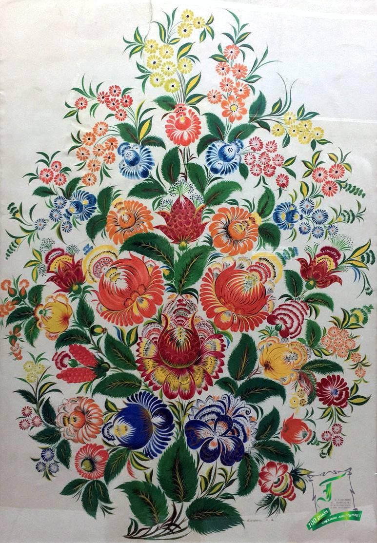 Євдокія Яківна Клюпа. Декоративне панно «Букет квітів». Папір, темпера. 82х59 см.