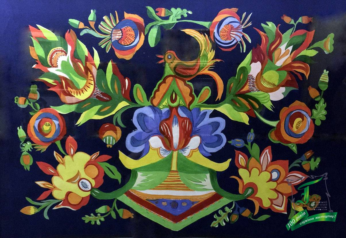 Ганна Феодосіївна Собачко-Шостак. Панно «Зозуля у квітах». 1963 рік. Папір,гуаш, акв. 60х85 см.