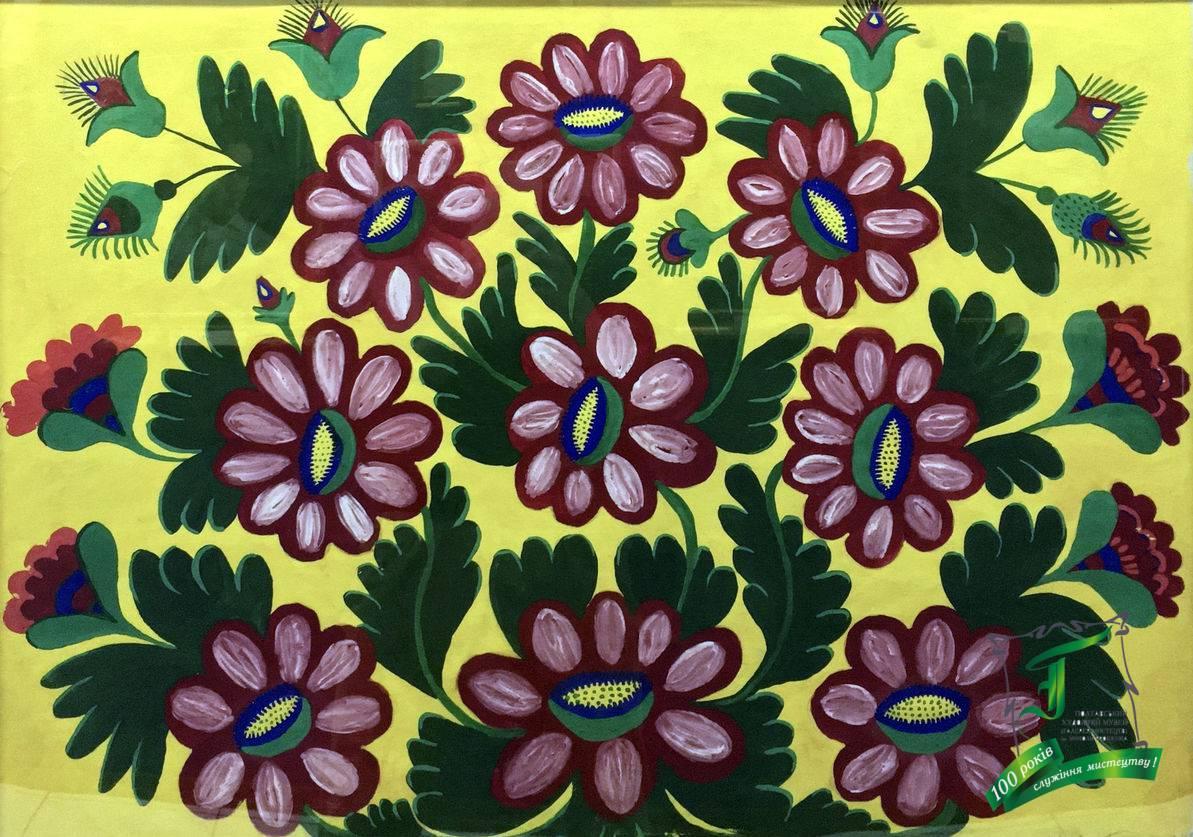 Марія Овксентіївна Примаченко. Панно «Рожеві квіти». Папір, гуаш. 60х86 см.