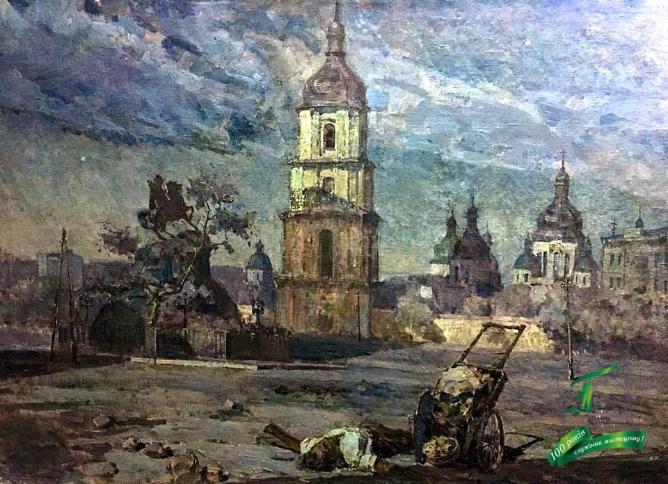 Жаров П.В. У забороненій зоні. П.,о. 1945. 137х183.