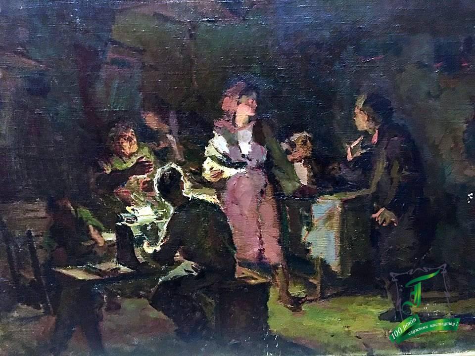 """Забашта В.І. Ескіз до картини """"Нескорена полтавчанка"""". П.,о. 1953. 42,5х60."""