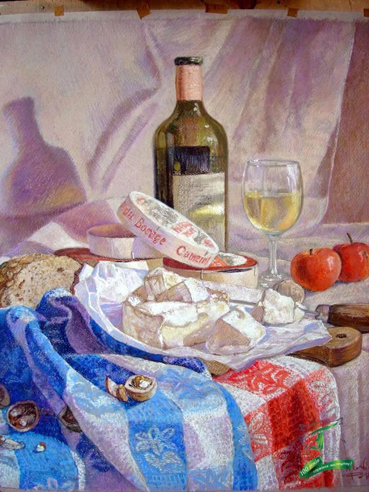 Сир, вино та яблука. 49х61 см
