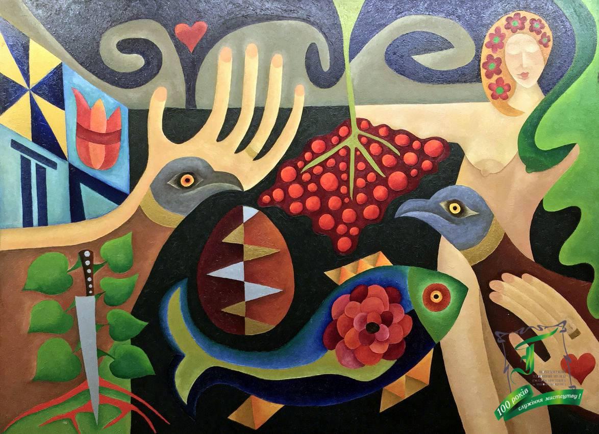 «Калина» із серії «Українські народні пісні», 1990 рік. Полотно, олія. 83х60 см.