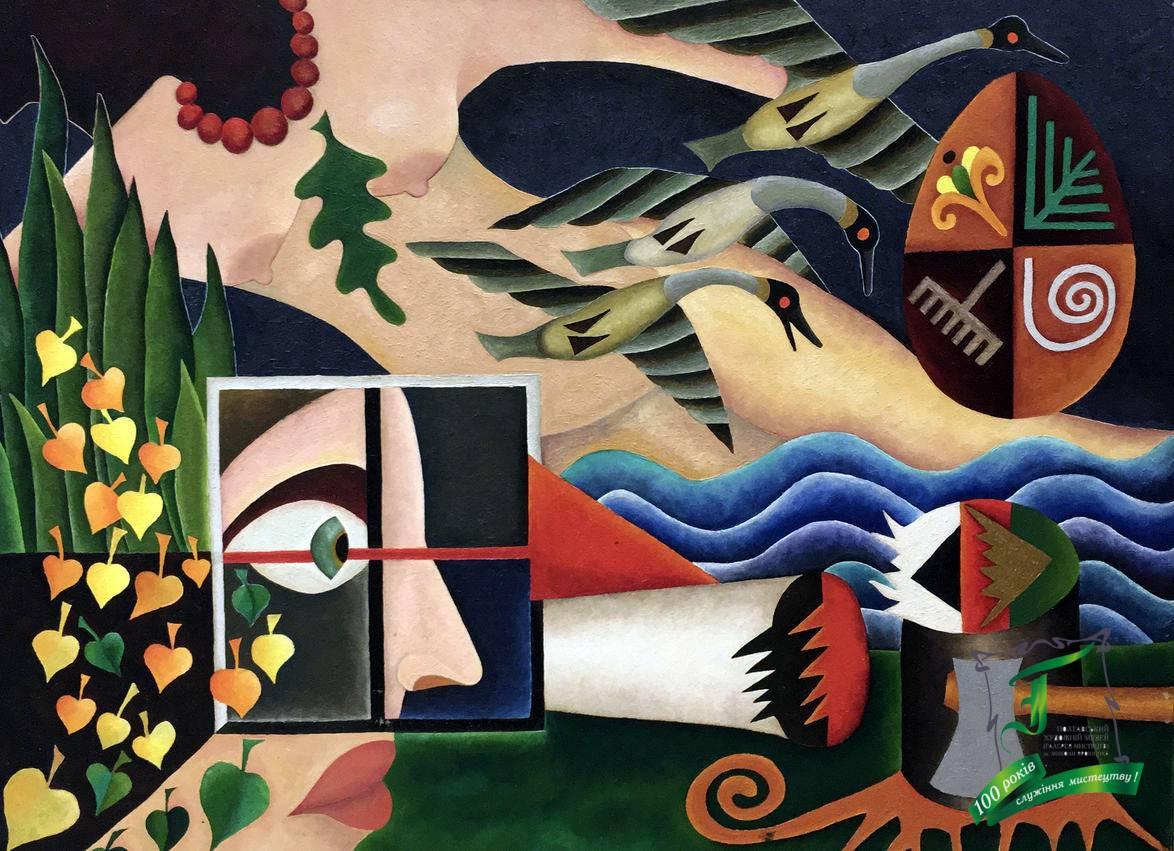 «Я бачив, як вітер берізку зломив» із серії «Українські народні пісні», 1991 рік. Полотно, олія. 80х60 см.