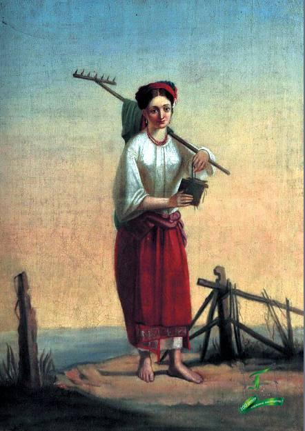 Невідомий художник. Дівчина з граблями. 19 ст.