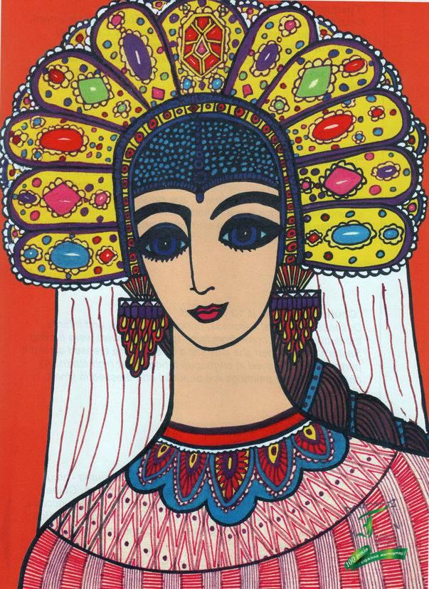 """""""Російська красуня"""", 10 років.Головний об`єкт кораблик. Цей дівочий головний убір дуже подобався Сашеньці. Вона робила викрійки з паперу, розмальовувала їх орнаментами, приклеювала кольорові скельця, одягала і демонструвала, красуючись: «Виступаю, наче пава!»."""