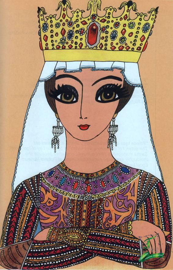 """""""Ганна Ярославівна, королева Франції"""", 9 років. Агнеса Ярославівна, дочка київського князя Ярослава Мудрого, була видана заміж за короля Франції Генріха Першого Копета. Батько Саші створив портрет королеви в карбуванні по міді. Саші портрет сподобався і вона зацікавилася долею цієї жінки. Потім намалювала портрет. Саме в цій композиції проявився її талант до створення орнаменту."""