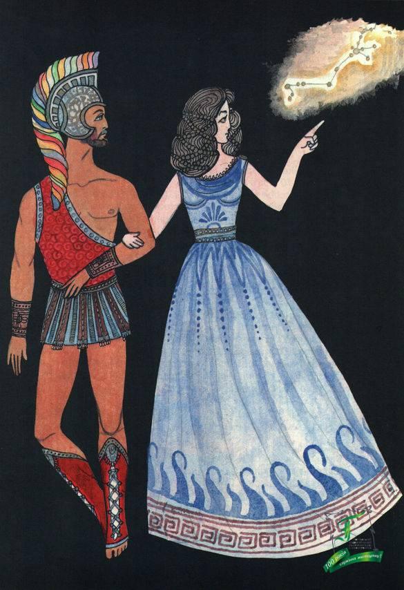 """""""Євген і Вікторія"""", 10 років.До ювілею весілля батьків юна художниця намалювала тата в образі Спартака, а маму в образі улюбленої Варінії, яка вказує на сузір'я Стрільця, під яким народилася Сашенька."""