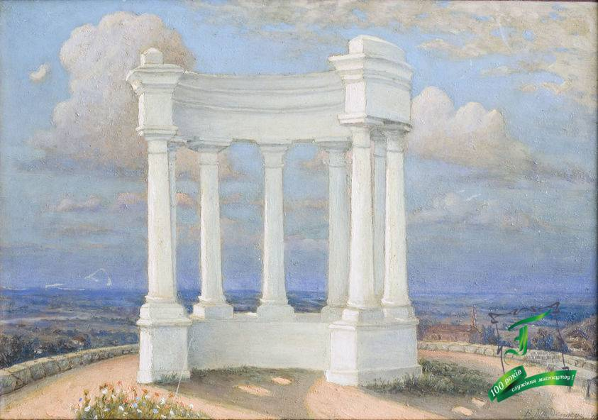 Магденко В.М. Біла альтанка. 1940. Картон на фанері, олія. 27,2х39,3