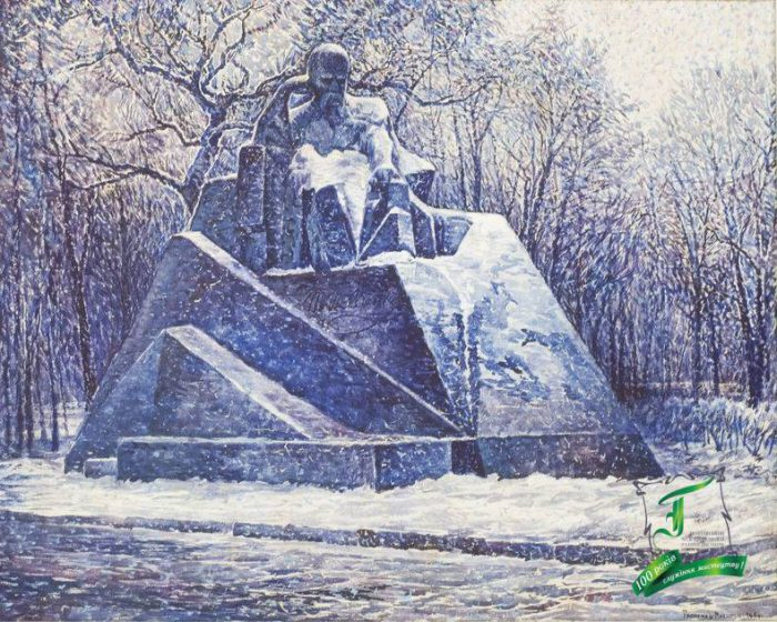 Трохимець-Мілютін В.О. Пам'ятник Т.Г. Шевченку у Полтаві. 1989. Полотно, темпера. 80х100