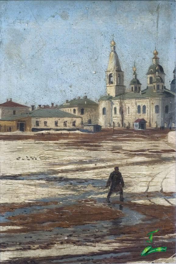 Волков Г.О. Полтава. Базарна площа. 1883. Картон, олія. 19,2х12,7