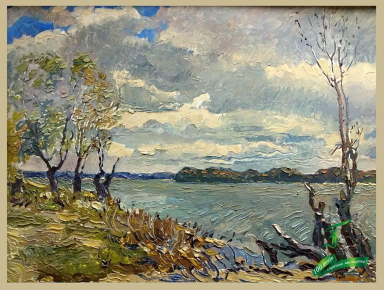 Дніпро восени. Картон олія. 1967
