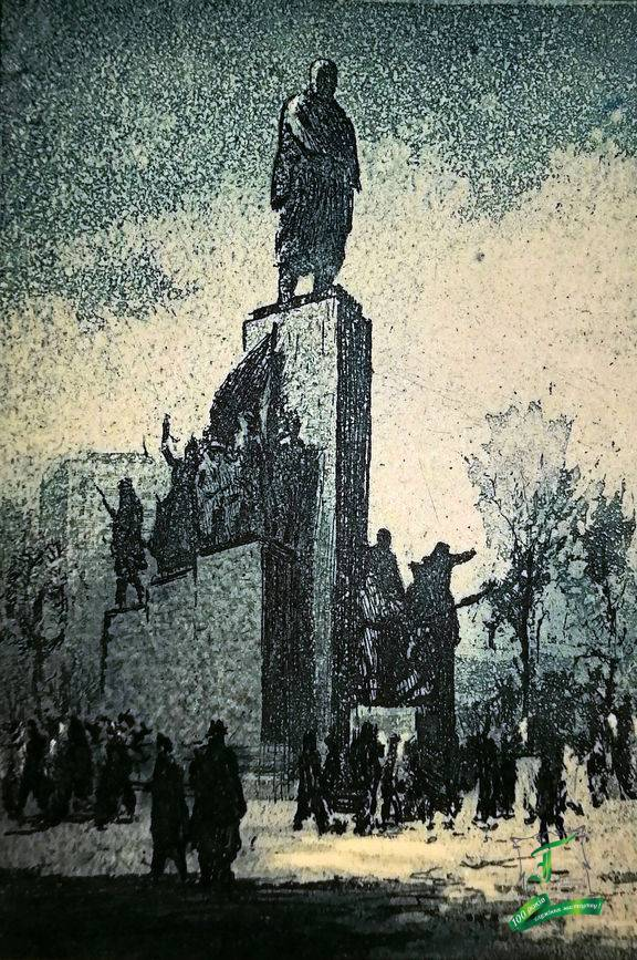 В. Мироненко. Пам'ятник Т.Г. Шевченку в Харкові. 1953. Папір, офорт. 10,2х7,4