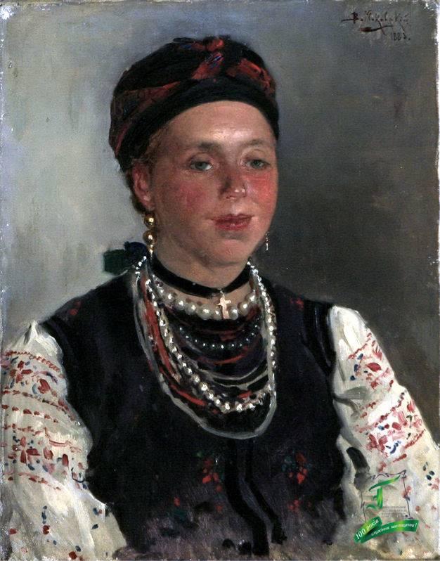 Володимир Єгорович Маковський (1846-1920). Українка. Етюд. 1883. П,о.