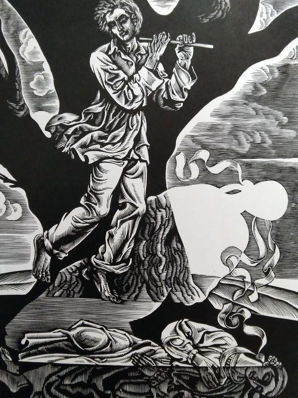 """Сопілка. Ілюстрація до балади """"Писав хлопчина береги"""". Папір, ліногравюра. 18,3х28 21х31"""
