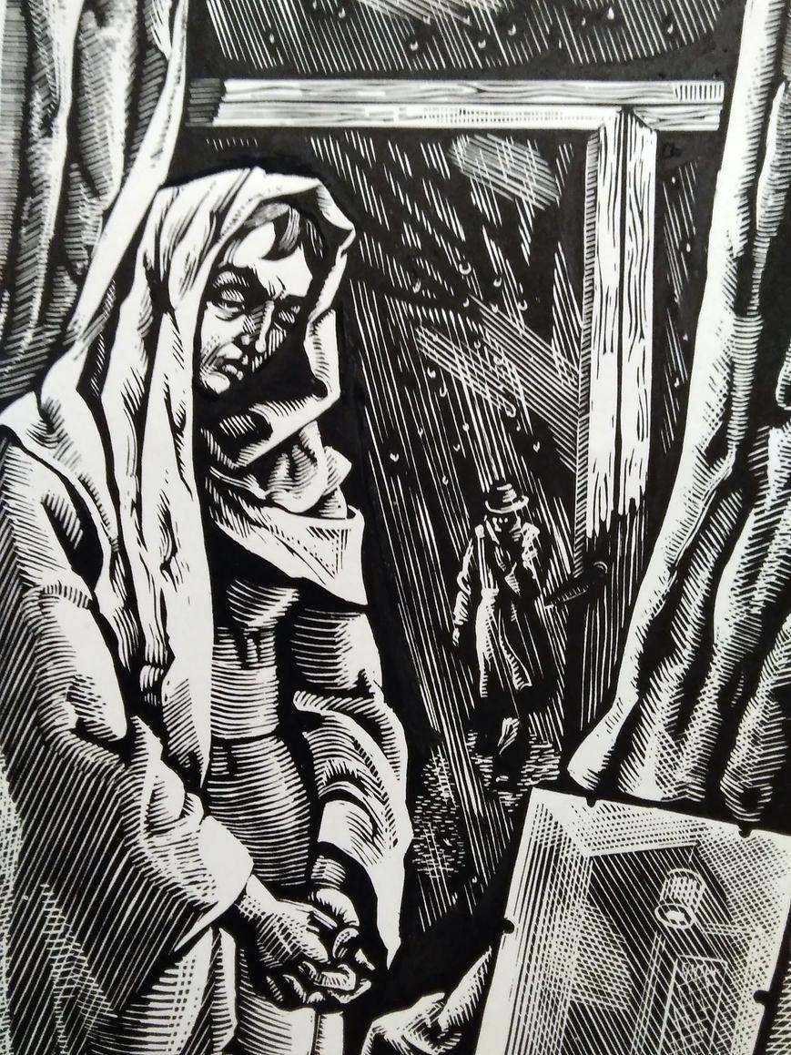Самотність. Ілюстрація до творів А. Москаленка. Папір, ліногравюра.  16х10  21х14,5