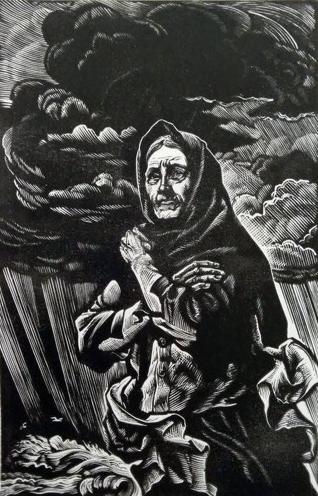 Ілюстрація до творів А. Москаленка. Папір, ліногравюра.   16х10,5  26,5х17
