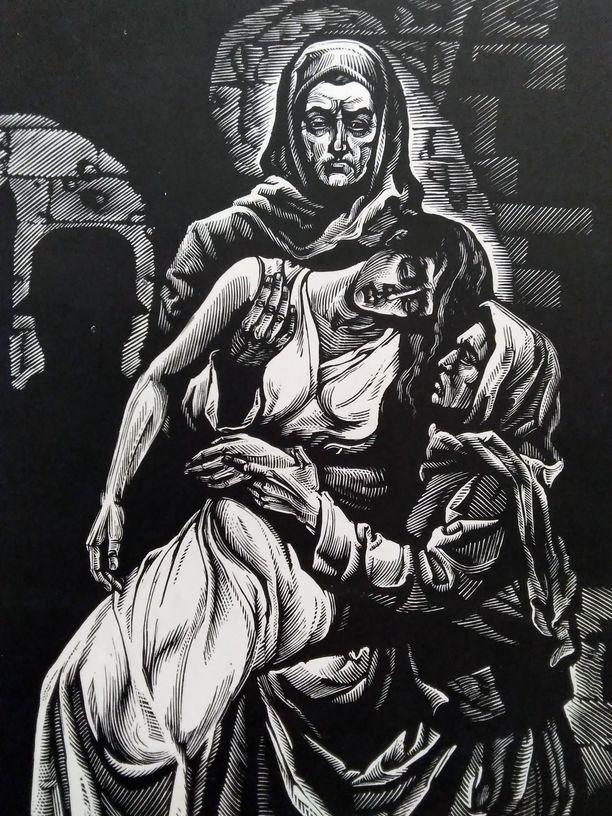 В казематі. Ілюстрація до творів А. Москаленка.Папір, ліногравюра.  18х14  28х20,5