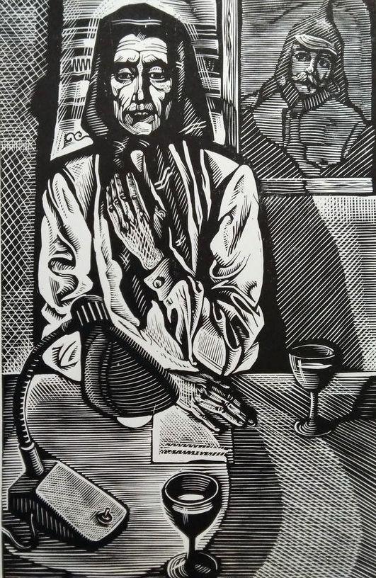 Ілюстрація до творів А. Москаленка. Папір, ліногравюра.  10х16,5  21х28