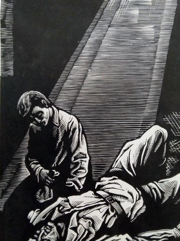 В дні окупації. Ілюстрація до творів А. Москаленка.Папір, ліногравюра. 16,5х10,3  23,5х17