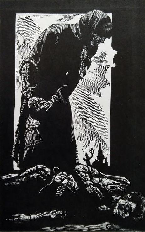 Ілюстрація до творів А. Москаленка. Папір, ліногравюра.  16,2х10,3  29х21,5