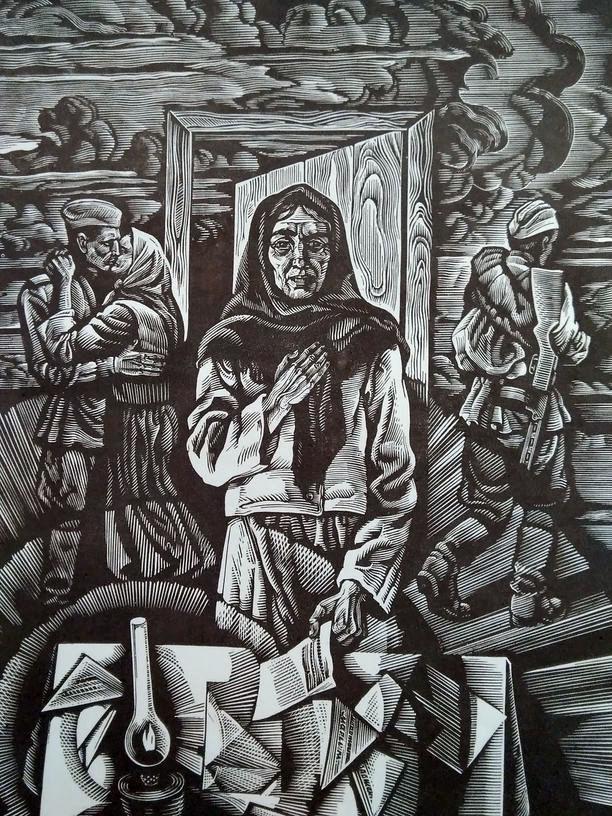 """Листи. Ілюстрація до серії """"Балада"""" про листи Дорошенка. Папір, ліногравюра. 28х18 42х29,5"""