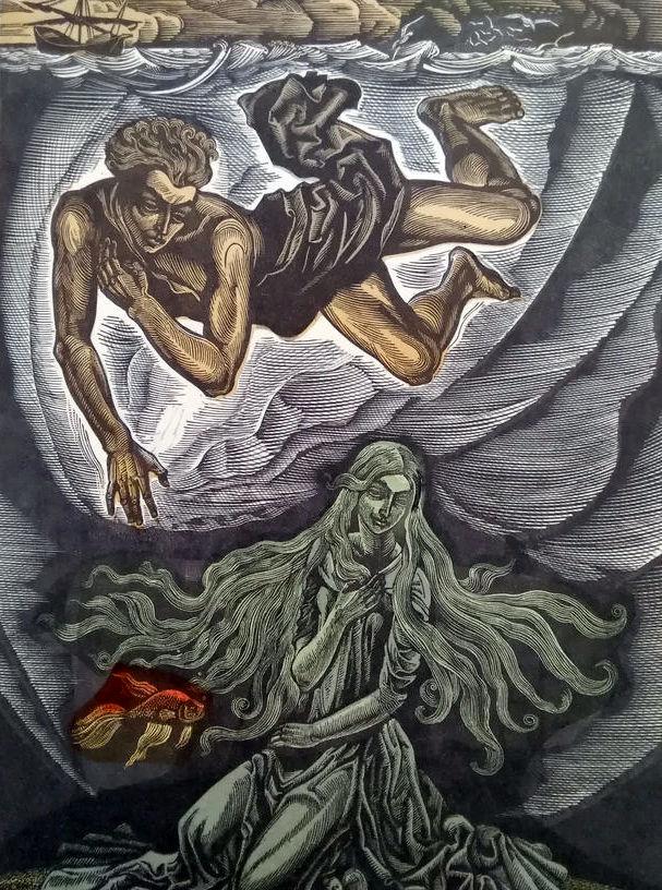 """Ілюстрація до серії """"Балади"""" Х. Алчевської """"Пісня німфи"""". Папір, кольорова ліногравюра.   28х18  42х30"""