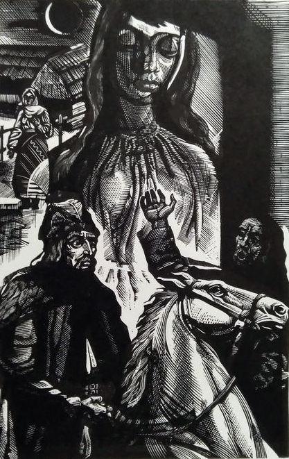 Ілюстрації за мотивами творів М. Садовяну (1880-1961). Папір, ліногравюра. 16х10,5 30х21
