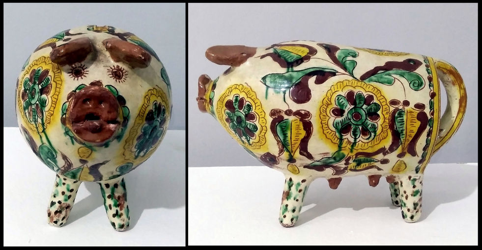 Свинка-копилка. 1959.  Майоліка, полива, розпис, гравіровка.