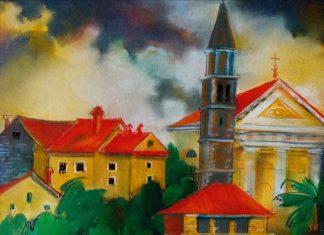 Католический собор. 50х70. Б.,пастель. Хорватия