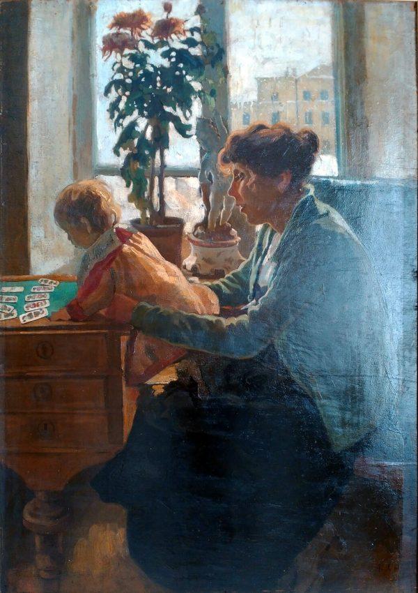 Орлов І.І. Мати з дочкою. Фанера, олія. 123х88