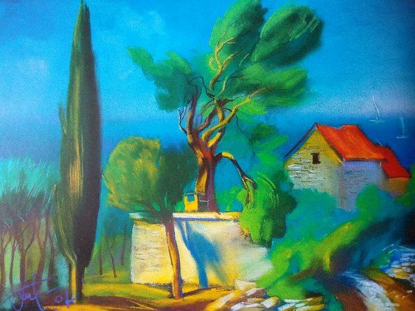 Будинок на Адріатичному морі. 50х70. П., пастель. Хорватія