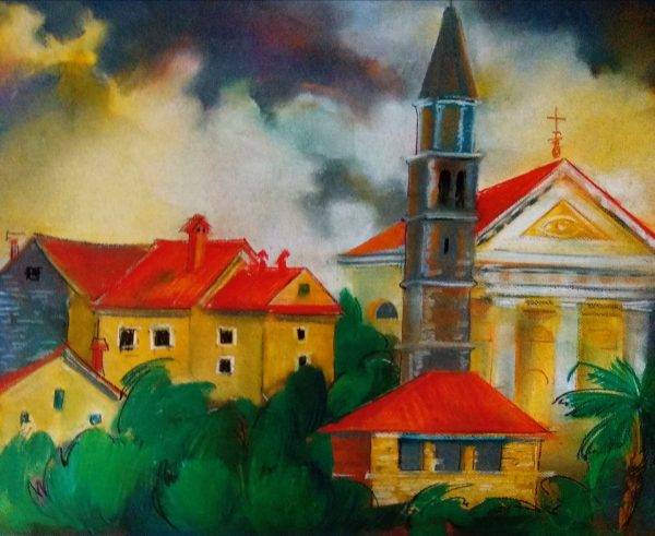 Католицький собор. 50х70. П.,пастель. Хорватія