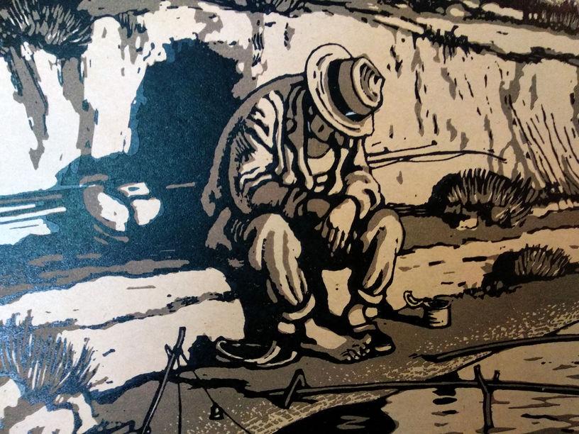 """Литвиненко В.Г. Клює. З серії """"Рибацьке щастя"""". 1960. Папір, ліногравюра. 23,5х25,5 ( Гг-522)"""